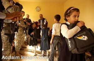 Clipart Photo of Iraq Police And Soldiers Passing Out Backpacks to School Children