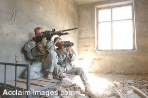 Photo Clip Art of U.S. Army Sniper in a Bombed Out Building, Jalalabad Afghanistan