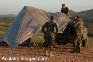 Clipart Photo of Three Soldiers Assembling a Tent