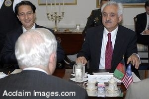 Photo Clip Art of Robert M. Gates Meeting With Afghanistan Ambassador Said Jawad