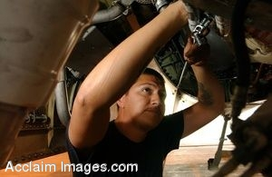 Clip Art Photo of U.S. Air Force Mechanic Working on a Jet Plane