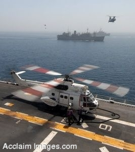 Clip Art Photo of an AS-330J Puma Helicopter on the Flight Deck of USS Iwo Jima