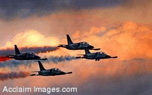 Clip Art Photo of Four Military Jets Flying Through the Air-Patriot L-39 Planes