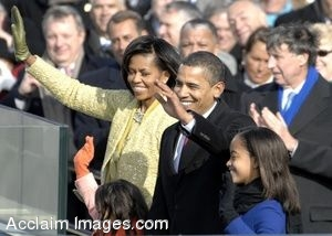 Clip Art Photo of Barack Obama and Michelle Obama With Children at Presidential Inauguration