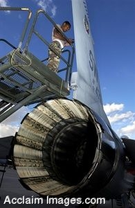 Clipart Photograph of an Air Force Mechanic Working on Jet Airplane