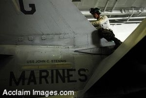Clipart Photo of a Marine Doing Routine Check on F/A-18c Hornet Jet