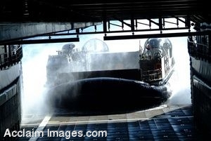 Clipart Photo of a Landing Craft Air Cushion Approaching Well Deck