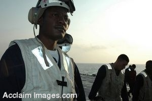 Clipart Photo of Navy Corpsman Being Briefed on Flight Deck