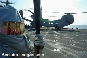Clipart Photograph of Navy Crash Salvage Team Member at the Ready