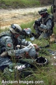 Clip Art Photo of U.S. Army Soldiers Caring for Simulated Casualties