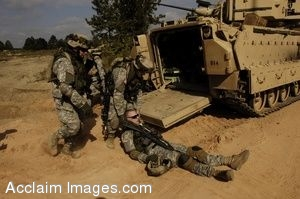 Clip Art Photo of U.S. Army Soldiers Loading Simulated Casualties Into an M113 Armored Personnel Carrier