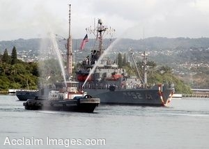 Clip Art Photo of a Tugboat with the Salvage Ship USS Salvor at Pearl Harbor