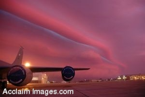 Clipart Photo of a Storm Front Over New York Air Base