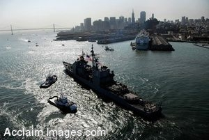 Clipart Photo of a Guided-Missile Cruiser in The San Francisco Bay