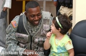Clip Art Photo of an African American  Army Soldier Talking With Iraqi Girl