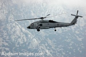 Clip Art Photo of U.S. Navy SH-60F Seahawk Helicopter in Flight