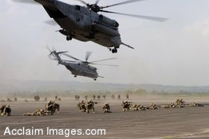 Clip Art Photo of of U.S. Marines and Sailors Dismounting From CH-53E Super Stallion Helicopters