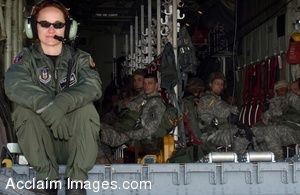 Clip Art Photo of U.S. Military Paratroopers Waiting in a C-130 Hercules Aircraft