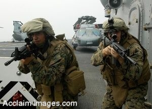 Clip Art Photo of Two Armed Marines on the Flight Deck of USS Boxer