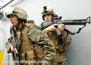 Clip Art Photo of U.S. Marines with Weapons on the USS Boxer Aircraft Carrier