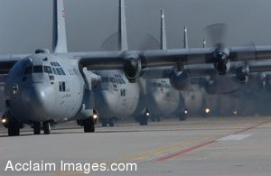Clip Art Photo of  C-130 Hercules Aircraft Lined Up Preparing to Take Off