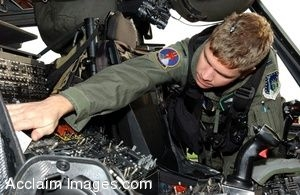 Clipart Picture of Air Force Helicopter Pilot Conducting Preflight Checks