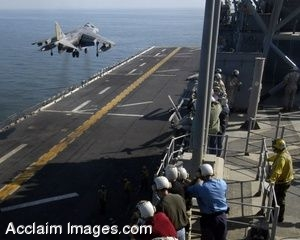 Clipart Photo of an AV-8B Harrier Performing a Vertical Takeoff  on Flight Deck
