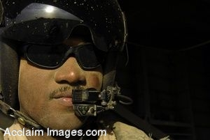 Clip Art Photo of  a Navy Pilot Wearing Sunglasses and a Black Helmet