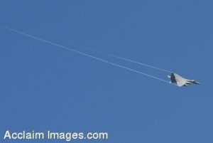 Clip Art Picture of a  F-15C Eagle Flying in a Blue Sky