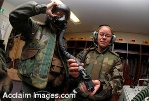 Clipart Photograph of Air Force Airman Inspects Fellow Soldier