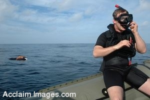 Clip Art Photo of a Navy Soldier Preparing to Rescue a Dummy in a Stock Photography Image