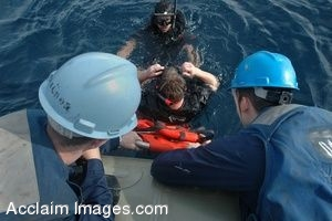 Clipart Photograph of Sailors Pulling a Man Back Onto an Inflatable Boat