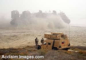 Clipart Photo of Marines on Grass Watch a Landing Craft Air Cushion on Beach