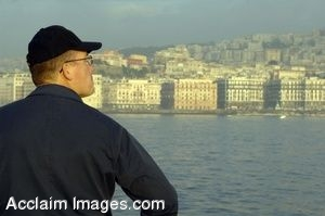Clipart Photograph of Navy Soldier Looking Out Into Naples