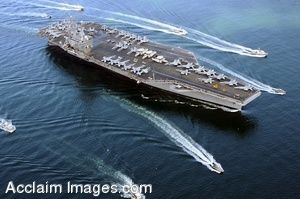 Clipart Photo of Aircraft Carrier USS Ronald Reagan Surrounded by Small Boats