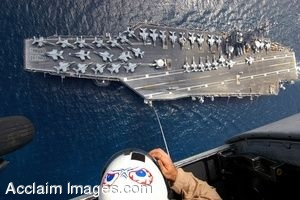 Clipart Photograph of an Aerial View of the Flight Deck of a Navy Ship