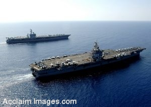 Clip Art Photo of U.S. Navy Ships USS Dwight D. Eisenhower and USS Enterprise