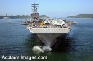 Clip Art Photo of a U.S. Navy Aircraft Carrier on the Water