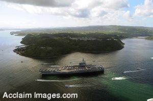 Clipart Photograph of an Aerial View of a Navy Ship Traveling Down a Coast