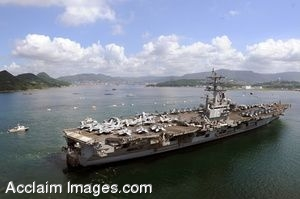 Clip Art Photo of USS Ronald Reagan and Other Small Boats