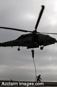 Clip Art Photo of Soldiers Propelling From a Helicopter Onto an Aircraft Carrier