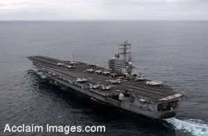 Clip Art Photo of U.S. Navy Aircraft Carrier in the Ocean