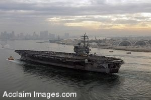 Clip Art Photo of U.S. Military Ship Aircraft Carrier In a Harbor