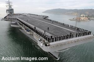 Clipart Photo of Sailors Lined up Around the Flight Deck of an Aircraft Carrier