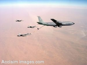 Clipart Photograph of A Large Aircraft Being Refueled in Mid-Air by Jets