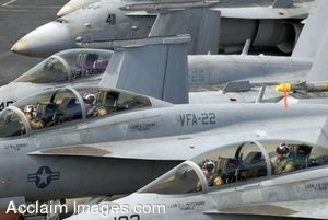 Clipart Photo of Jets Lined Up Waiting to Take Off