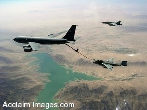 Clipart Photograph of a Large Aircraft Refueling During Flight