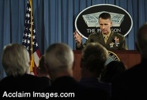 Clip Art Photo of Staff Marine General Peter Pace Addressing the Media