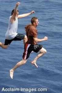 Clip Art Photo of Two Youn Men Jumping Into the Ocean