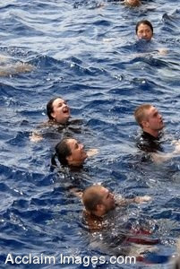 Clipart Picture of Navy Sailors and Kids Swimming in the Ocean
